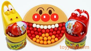 Learn Colors Bubble Gum Anpanman Baby Plate Larva Surprise Kinder Joy Egg toys Baby Finger Song
