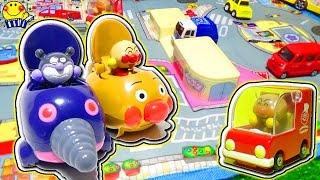 はたらくくるまとアンパンマンミュージアムのおもちゃで乗り物ショー★GOGOミニカーでわくわく冒険だ!働く車のなかまたちがいっぱい★もぐりんが大暴れ!のりものあつまれ〜!トミカ 救急車