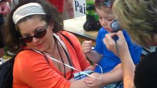 Finn Gets 'Thomas the Train' Painted on His Face @ the Cooper Clinic 'Eggstravaganza Festival'~4 15 11