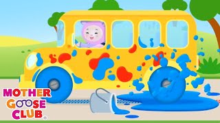 Wheels on the Bus Color Song | Learn Colors | Nursery Rhymes from Mother Goose Club! | Children