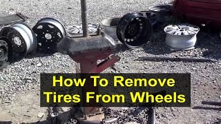 How to remove a tire from a rim or wheel with a manual tool. - VOTD