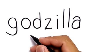 VERY EASY ! How to turn words GODZILLA into cartoons for KIDS / learn how to draw