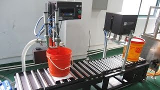 20L lubricant oil bucket filling capping machine automatic line manual caps feeding big container