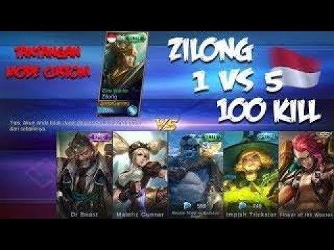 ZILONG 1 VS 5,100 Kill TANTANGAN DI MODE CUSTOM - Apakah Zilong Mampu Melakukanya?!