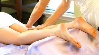 How To Massage Legs - Foot to Inner Thigh Body Work Therapy Techniques - ASMR