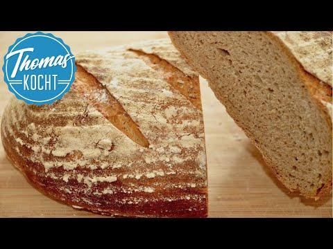 Roggenmischbrot mit Sauerteig backen / leckere Brot Rezepte