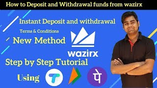 How to instant deposit and withdrawal funds from wazirx exchange using any upi app ex tez, bhim etc