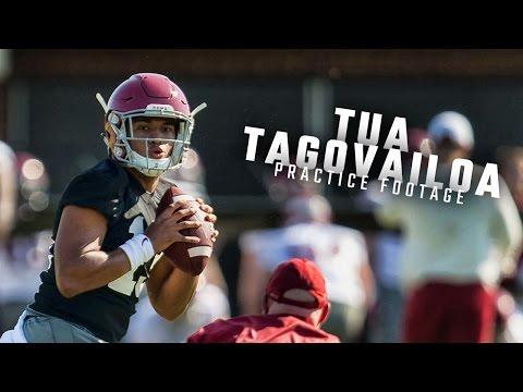 Watch Alabama QBs Tua Tagovailoa Jalen Hurts and Mac Jones run drills during spring practice
