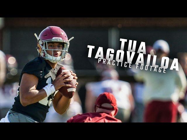 Watch Alabama QBs Tua Tagovailoa, Jalen Hurts, and Mac Jones run drills during spring practice