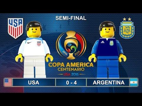 Semi Final Copa America 2016 - USA vs ARGENTINA 0-4 Lego Football Goals Highlights ( Centenario )