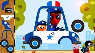 Build a Police Car & Fire Truck : Spiderman - Policeman, Fireman | Cars Games & Cartoon for Children
