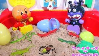 アンパンマン アニメ おもちゃ アンパンマン 宝物 たまご 砂遊び❤ 虫 昆虫 animekids アニメキッズ animation Anpanman Toy insect