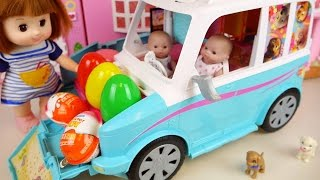 Baby Doll camping car house toy and Kinder Joy Surprise eggs