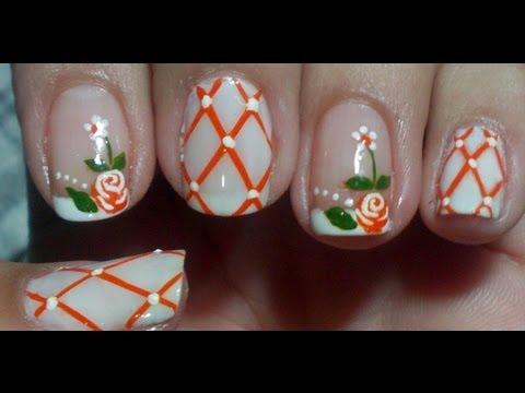 Unhas decoradas com Rosas Alaranjadas Manual Bela e Simples