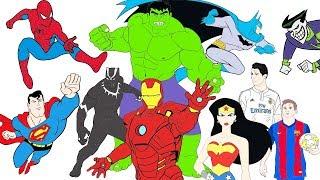 Coloring Pages Ronaldo Messi Black Panther SpiderMan Batman Hulk Joker Superman Iron Man WonderWoman