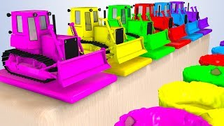 Colors For Babies With Bulldozer 3D and Cars Superheroes for Kids - Learning Colors
