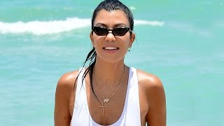 Kourtney Kardashian Shows Lots of Skin in Sexy White Swimsuit in Miami