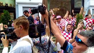 World cup. Croatia fans are shouting Russia. July 15, 2018