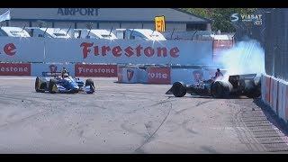 Indycar 2018: St. Petersburg All Crashes Compilation
