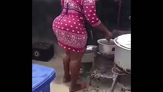 trending porn video, big booty ebony cooking a dinner with short dress hips