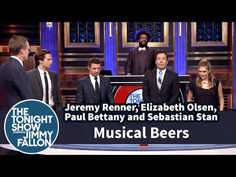 Musical Beers with Jeremy Renner Elizabeth Olsen Paul Bettany and Sebastian Stan