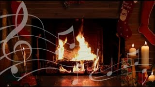 Cozy Yule Log Fireplace with Crackling Christmas Music! (HD)
