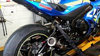 2017 GSXR 1000 ASR carbon muffler exhaust . Tuned and unleashed Dyno