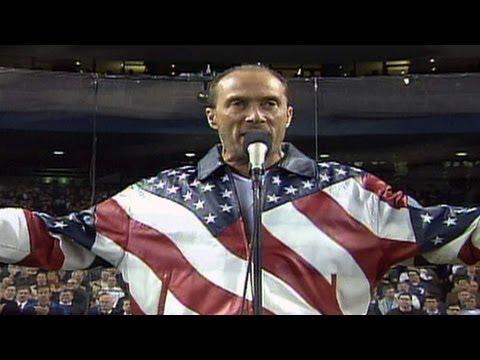 watch 2001 WS Gm4: Lee Greenwood sings