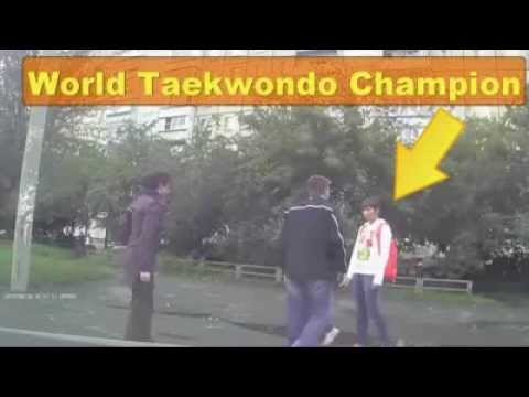 WORLD TAEKWONDO CHAMPION GIRL MAKES KO Aggressor IN THE STREET