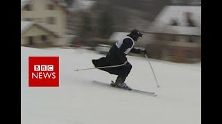 Skiing priest contest, cassock optional - BBC News