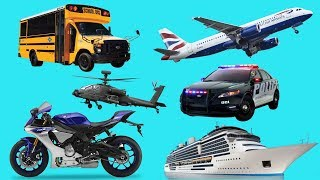 Cars and Trucks Cartoon Learn Vehicles Names Sounds for Kids 🚒 Monster Trucks Bus Toys Transport