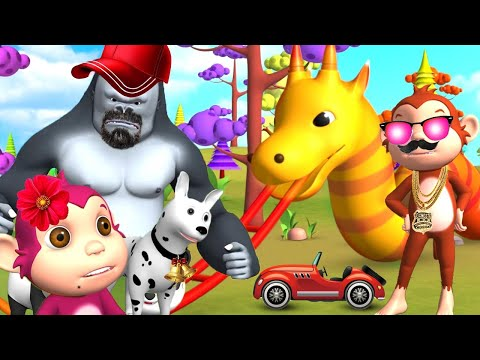 Forest Animals Play with Dragon Slider Fun Entertainment in Jungle Funny Animals Funny Videos