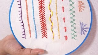 Hand Embroidery for Beginners - Part 5 | 10 Basic Stitches | HandiWorks #69