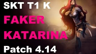 SKT T1 Faker Katarina vs Twisted Fate mid feat. CJF Space Tristana | KR SoloQ Patch 4.14 | 1080p