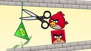 Angry Birds Pigs Out - MAD ANGRY BIRDS CUT ROPE AND KICK BAD PIGGIES!!