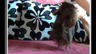 Beautiful and funny girl spreads her legs in the splits