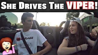 Girl Driving Manual Stick Shift Dodge Viper!