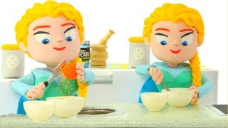 Frozen Elsa Is Cooking Chef Elsa Play Doh Cartoons Superhero Babies Hulk Spiderman Stop Motion