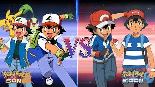 Pokemon Sun and Moon: Kanto Ash and Johto Ash Vs Kalos Ash and Alola Ash