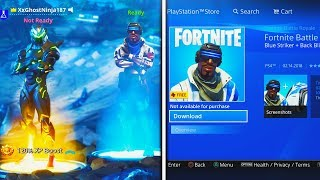 """How to Download FREE """"Blue Striker"""" SKIN in Fortnite! (NEW PlayStation Plus Skin + Back Bling Free)"""