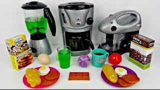 KITCHEN Playset, Making Breakfast ELSA SPIDERMAN In Real Life IRL, Blender, Mixer, Coffee Maker TUYC