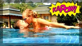 KISSING IN THE POOL !!!
