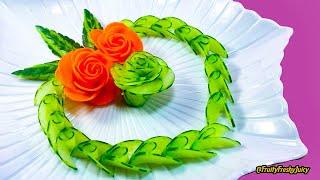 Lovely Cucumber & Carrot Rose Flower Design - Fruit & Vegetable Carving & Cutting Garnish