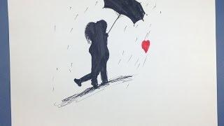 Couple Cartoon  In Rain # 2016