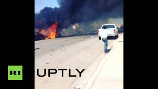USA: Fiery aftermath of military jet crash in California