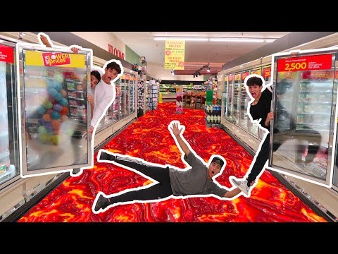 FLOOR IS LAVA IN GROCERY STORE we got banned
