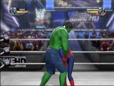 Hulk vs Spiderman WWE All Stars