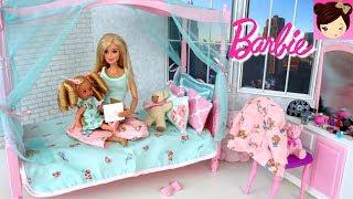 Barbie Babysitting Evening Routine - Barbie Bedroom Bathtub Toy & Mc Donalds Playset