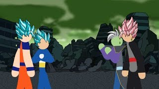 Goku and Vegeta VS Black and Zamasu Stick Fight!!