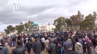 تشييع شهداء مجزرة البراميل في مقبرة الشهداء درعاالبلد 4-2-2015